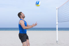 Male player playing beach volley Royalty Free Stock Photography