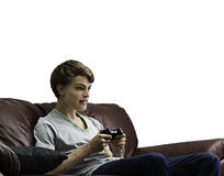 Male playing video game Royalty Free Stock Photos