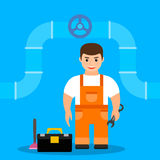 Male plumber,  illustration. Male plumber in an orange jumpsuit holding a wrench.  illustration. flat. cartoon Stock Images