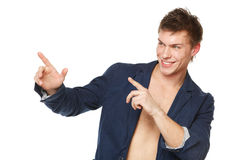 Male pointing at copy space Royalty Free Stock Images