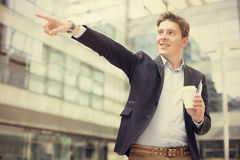 Male pointing finger at object Royalty Free Stock Photos