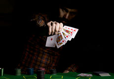 Male poker player holds five cards, winning combination. on a dark background.  Stock Images
