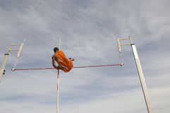 Male Pole Vaulter Clearing Bar Royalty Free Stock Image