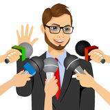 Male politician or businessman answering press questions. Male bearded politician or businessman with glasses answering press questions in front of journalists Royalty Free Illustration