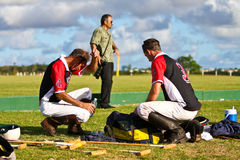 Male Polo Player exhasuted after the game Royalty Free Stock Image