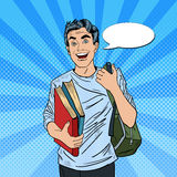 Male Pop Art Student with Backpack and Books. Smiling Positive Male Pop Art Student with Backpack and Books. Vector illustration Stock Photos