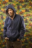 Male portait. Portrait of a Mid-adult Caucasian male wearing a hoodie stock image