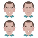 Male portrait for avatar. Vector illustration  on white background. Funny character with emotions: sadness, joy. Funny cartoon character. Male portrait for Royalty Free Stock Images