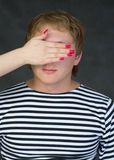 Male portrait with closed eye Royalty Free Stock Photo
