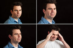Male portrait facial expressions on black Stock Photos