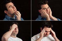 Male portrait facial expressions on black Royalty Free Stock Photography
