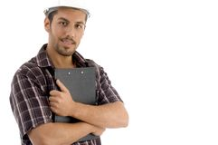 Male posing with writing pad. Against white background Stock Images