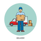 Male postal delivery courier man in front of cargo van delivering package. Stock Photography