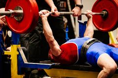 Male powerlifter bench press. In powerlifting competition Royalty Free Stock Photos