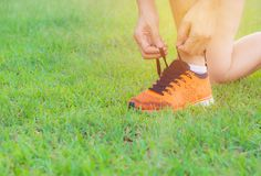 Male preparing and wearing sports shoes for jogging and exercise. In the morning Stock Images