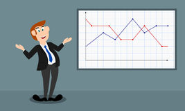 The male presenter shows a dotted graph (happy mood) Stock Photo