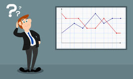 The male presenter shows a dotted graph (sad mood) Royalty Free Stock Photos