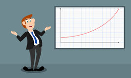 The male presenter shows the growth by a curve graph Stock Photos
