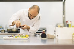 Male professional chef cooking in a kitchen. Stock Photos