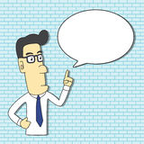Male Professional Instructor Cartoon. Character Design with Speech Bubble for insert Text Royalty Free Stock Image
