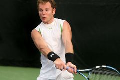 Male Professional Tennis Player Backhand Stock Images