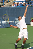 Male Professional Tennis Player Serve Stock Photography