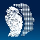 Male profile idenity. Male technological profile identity fingerprint or phycology concept royalty free illustration