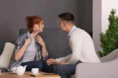 Male psychologist with client. In office Royalty Free Stock Photos