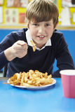 Male Pupil Eating Unhealthy School Lunch Stock Photography