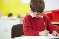 Male Pupil Practising Writing At Table Royalty Free Stock Image