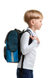 Male pupil with schoolbag Stock Images