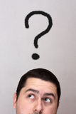 Male with a question mark Stock Images