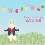 The male rabbit dance on the grass for easter celebration Stock Photography