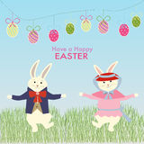 The male rabbit dance on the grass for easter celebration Royalty Free Stock Photos