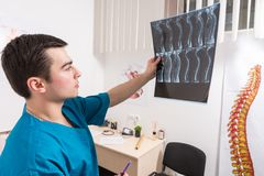 Doctor analysing X-ray image of human spine. Male radiologist studying X-ray image of human spine in consulting room stock photography