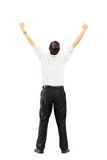 Male with raised hands gesturing happiness Stock Image