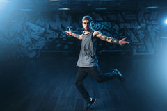 Male rapper in dance studio, trendy lifestyle Stock Images