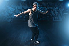 Male rapper in dance studio, trendy lifestyle Royalty Free Stock Image
