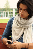 Male Reading a Text Message Royalty Free Stock Image