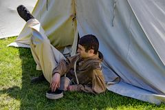 A Male Reenactor Relaxing at the Confederate Encampment stock images