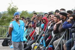 Male refugees on slovenian border Royalty Free Stock Images