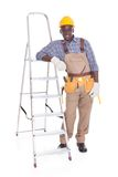 Male Repairman With Ladder Stock Photo