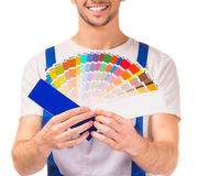 Male repairs indoors Stock Photography