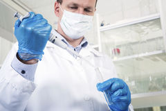 Male researcher at his workplace in the laboratory. Royalty Free Stock Images