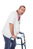 Male revised nurse is limping Stock Images