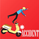 Male rider accident on the scooter Stock Photo