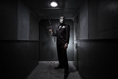 Male with the rifle and gas mask Royalty Free Stock Photos