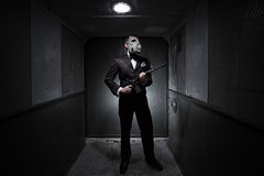 Male with the rifle and gas mask Royalty Free Stock Images