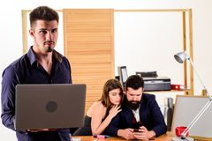 Male rivalry. Modern office life. Woman working in mostly male workplace. Woman attractive working with men. Office. Collective concept. Sexual attraction royalty free stock photos