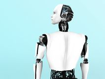 Male robot back view. A male robot gazing into the future Stock Images